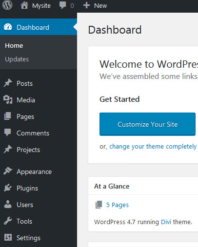 wordpress administrator panel